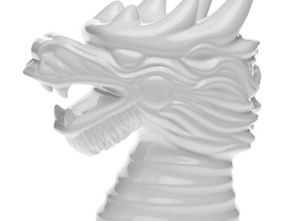 פסלון קרמיקה ראש דרקון